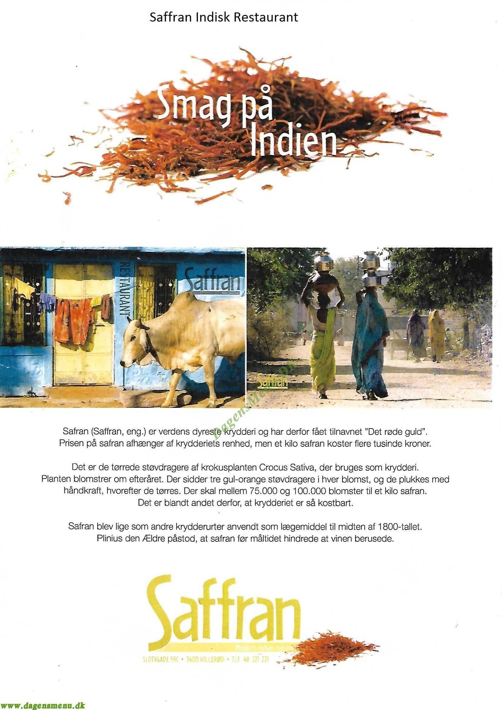 Saffran Indisk Restaurant - Menukort