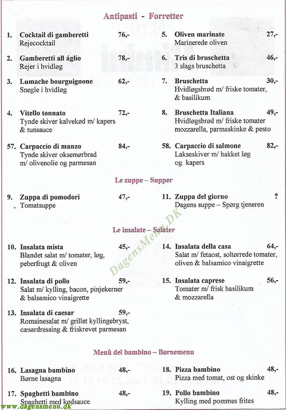 Restaurant Rimini - Menukort