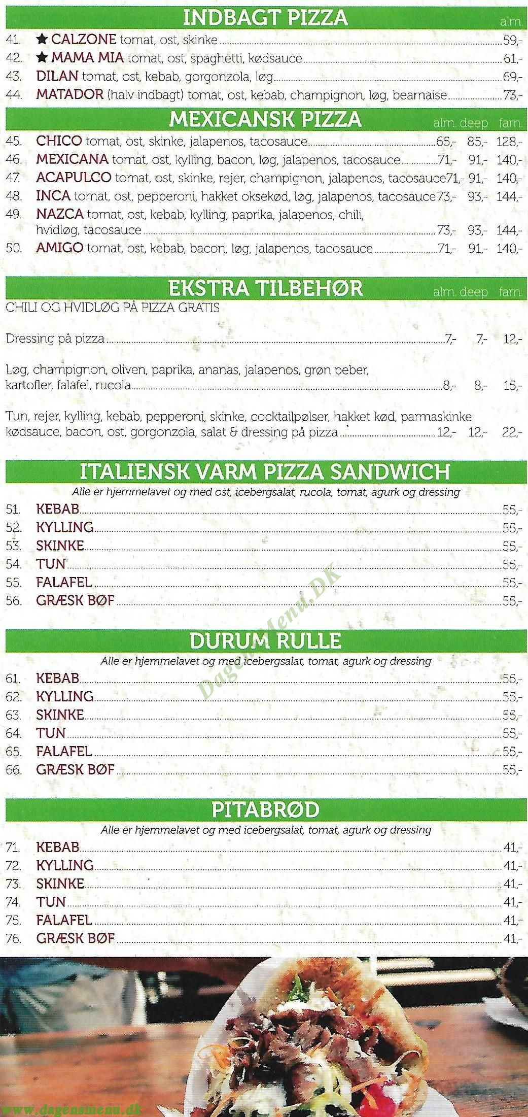 Valantinos Pizza - Menukort