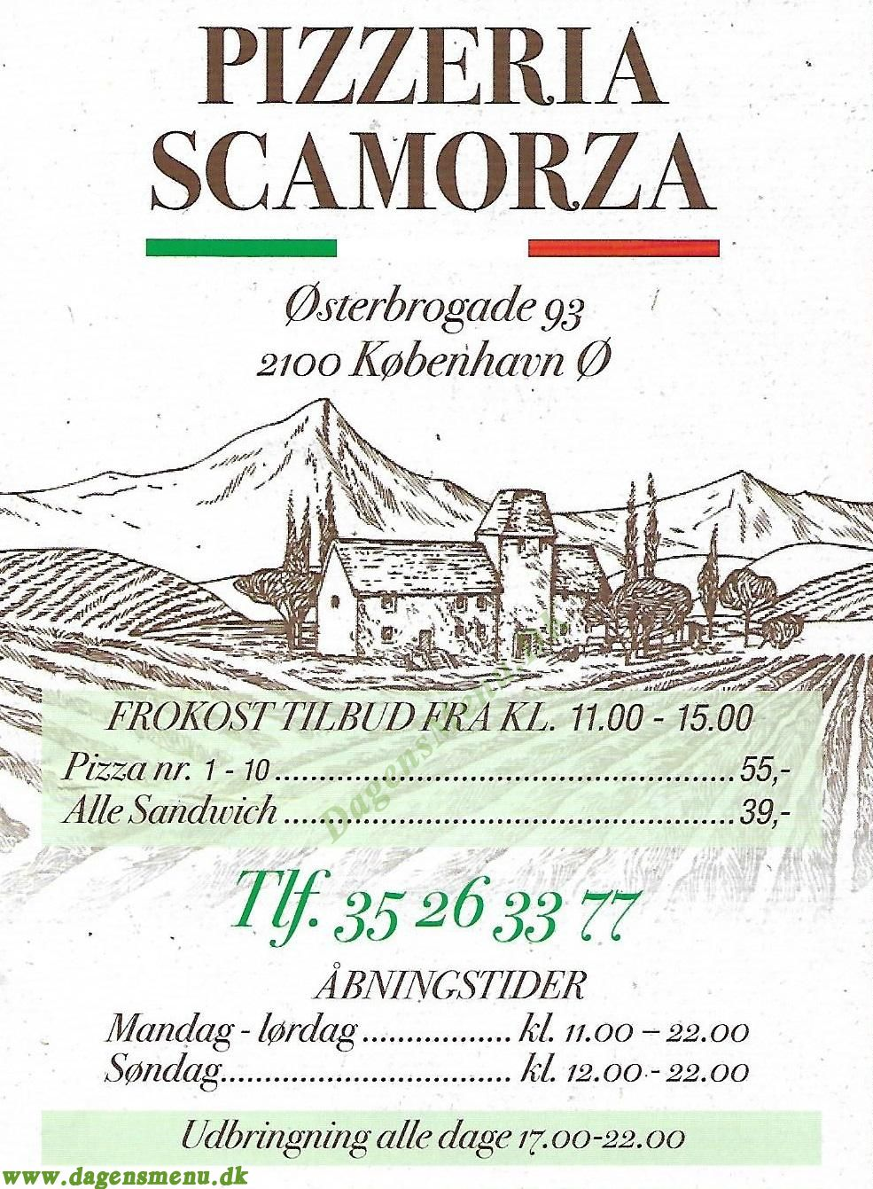 Pizzeria Scamorza - Menukort