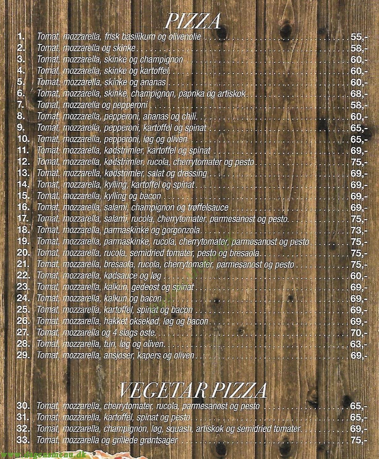 Scamorza Pizzeria - Menukort