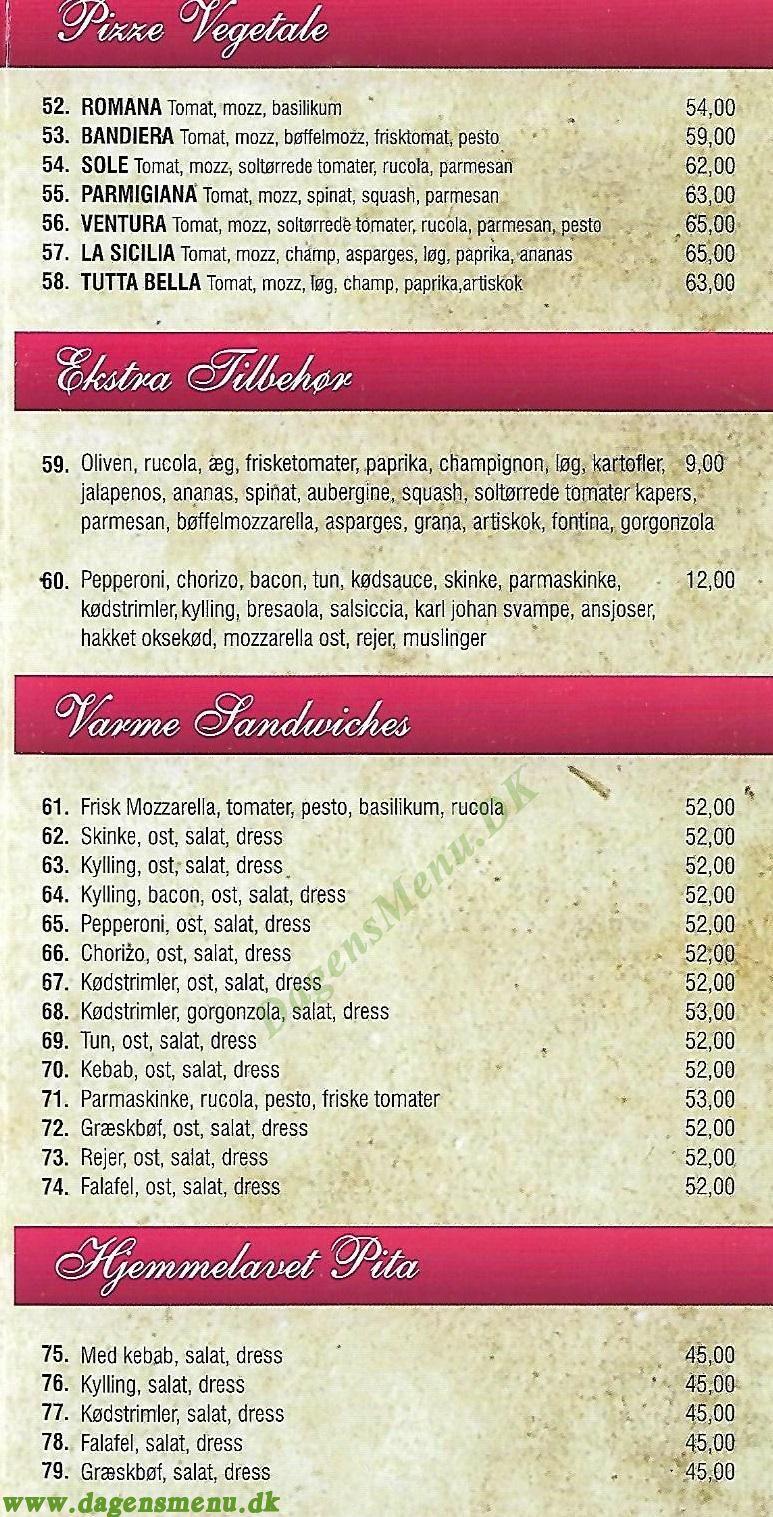 Benvenuti Pizza Emdrupvej - Menukort