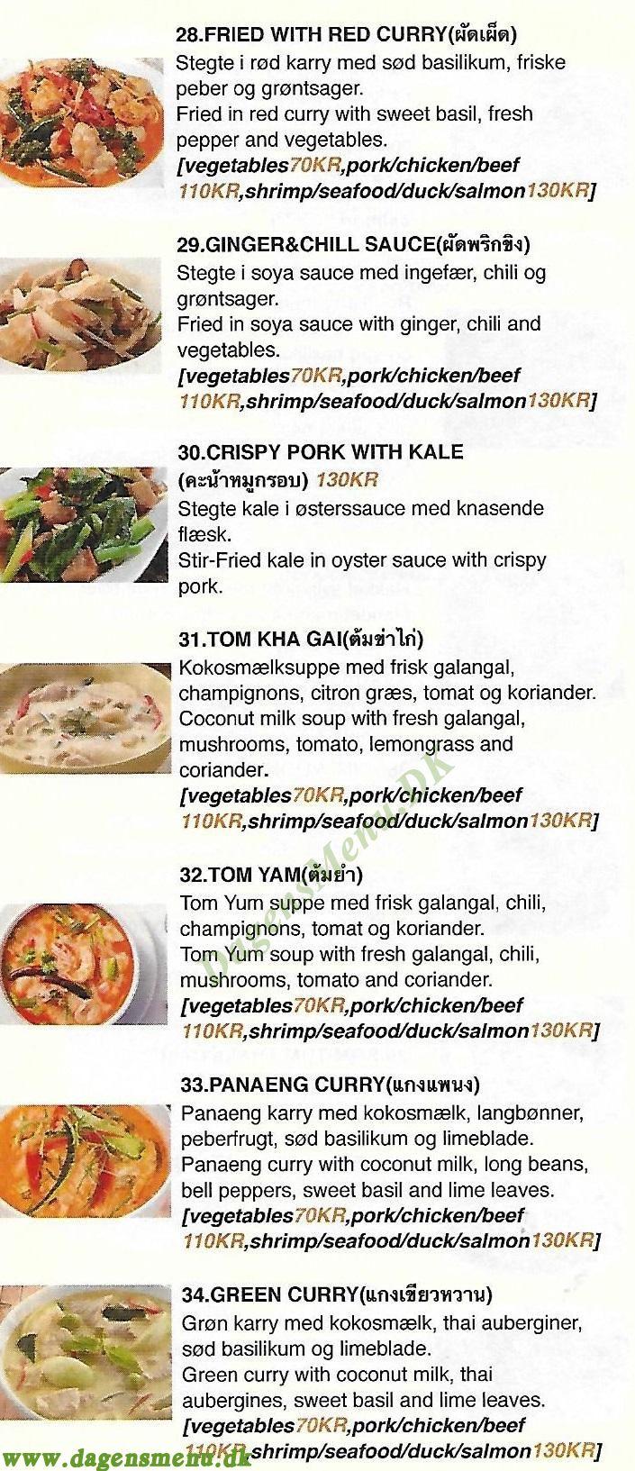 MD Thai Restaurant - Menukort