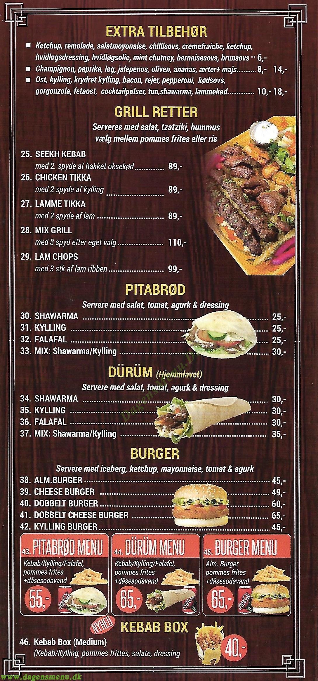 Lahore Kebab - Menukort