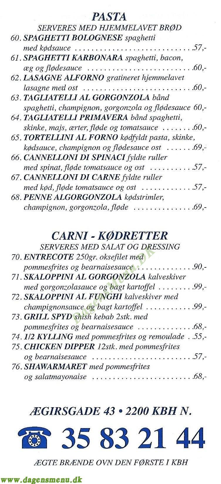 Leif's Pizzeria - Menukort