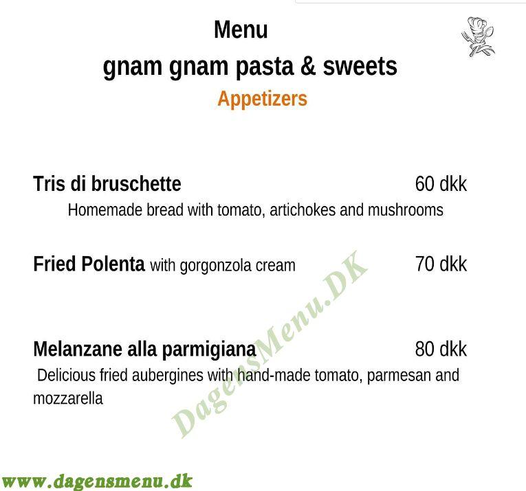 Gnam gnam pasta & sweets - Menukort