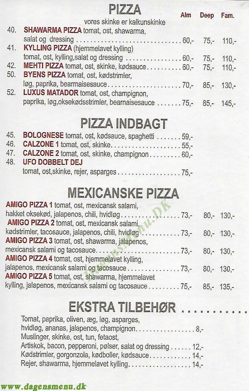 Kebab House og Pizza - Menukort