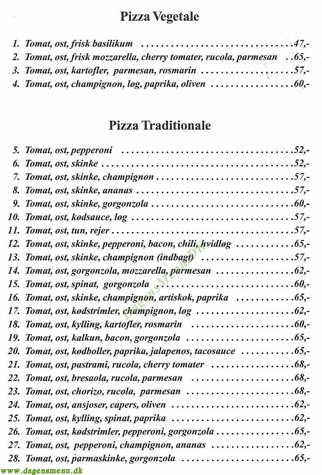 Mo's Pizza - Menukort