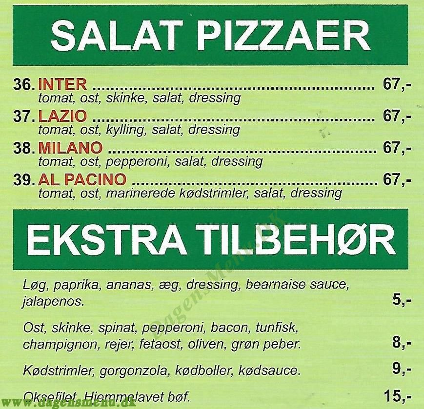 Bellano Pizzeria - Menukort