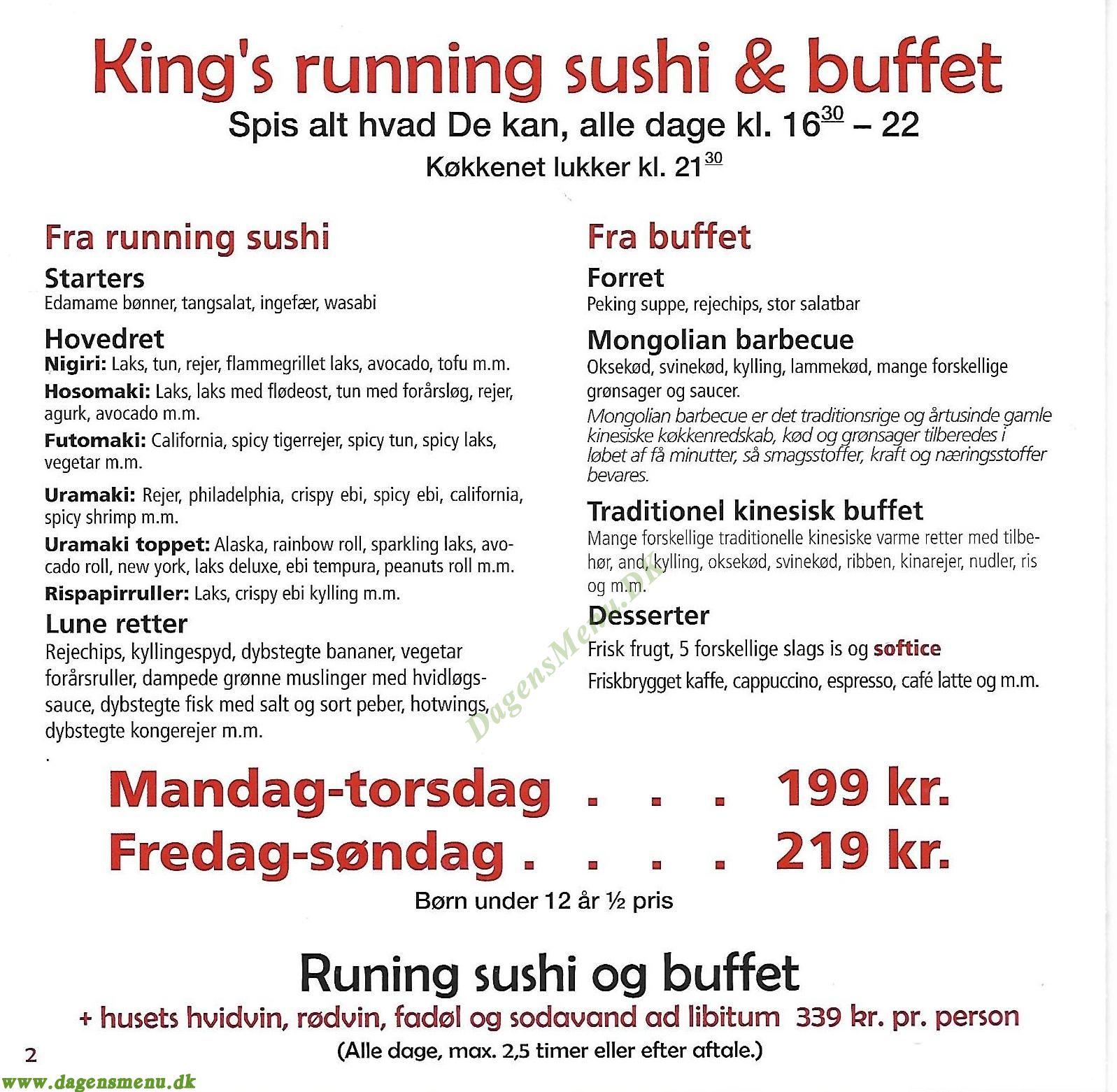 Kings Running Sushi & Buffet Odense - Menukort