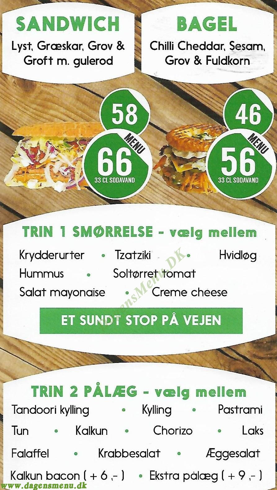 Sandwich Corner - Menukort