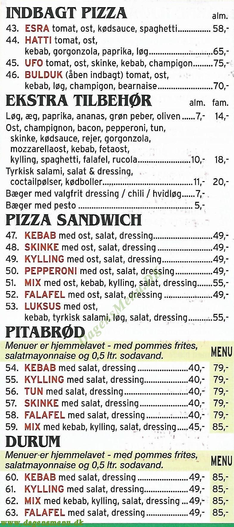 Sct Hans Gade Pizzaria - Menukort