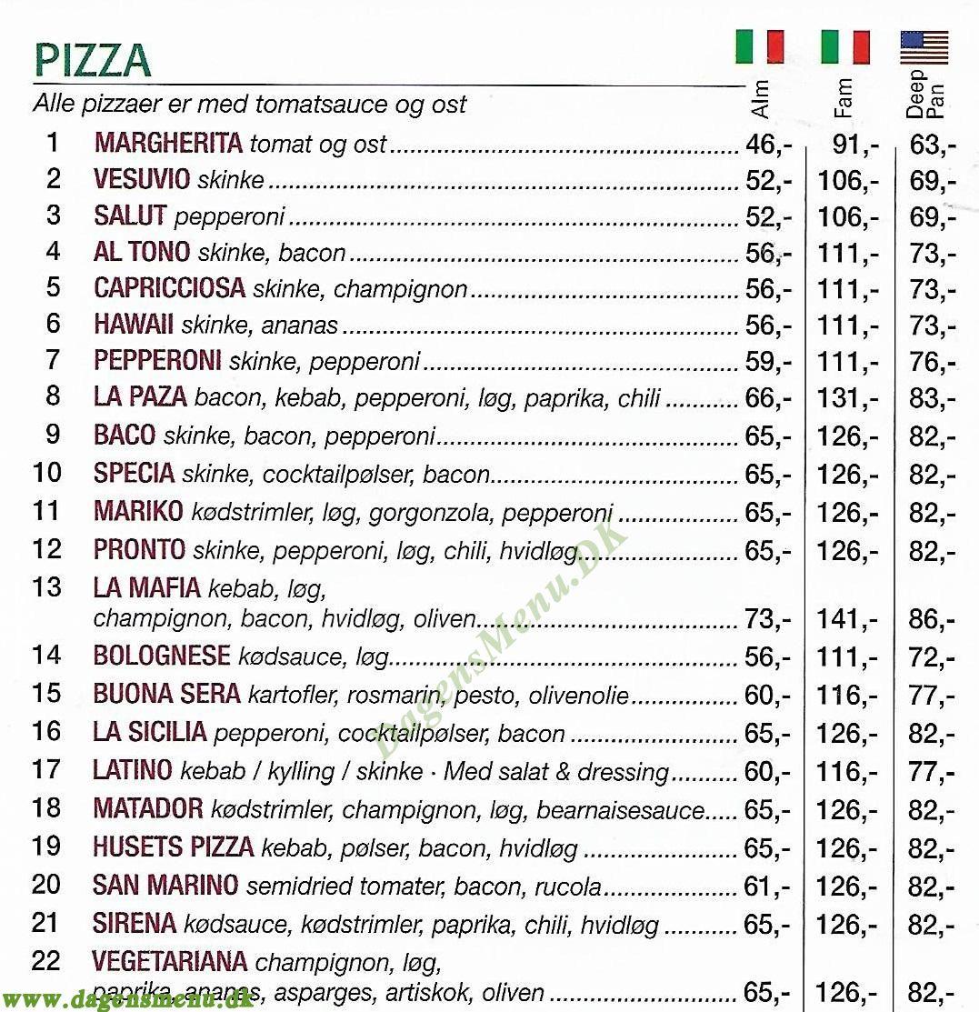 Mona Lisa Pizza & Grill - Menukort