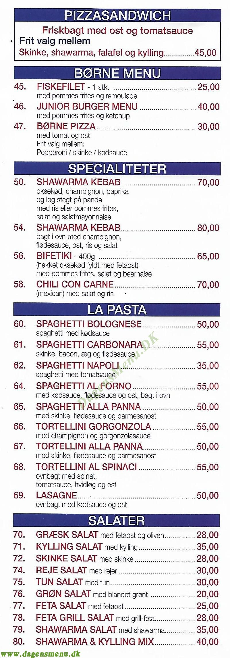 Campania Pizza - Menukort