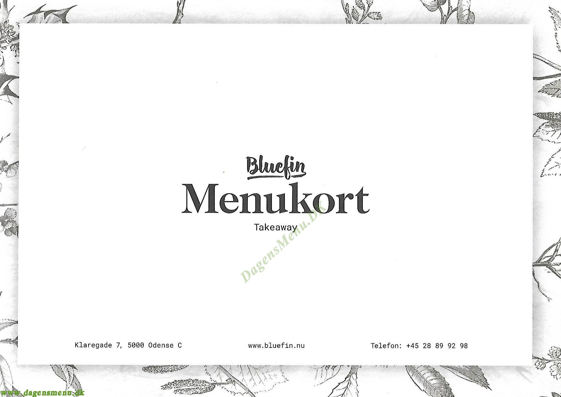 Bluefin restaurant & sushi - Menukort