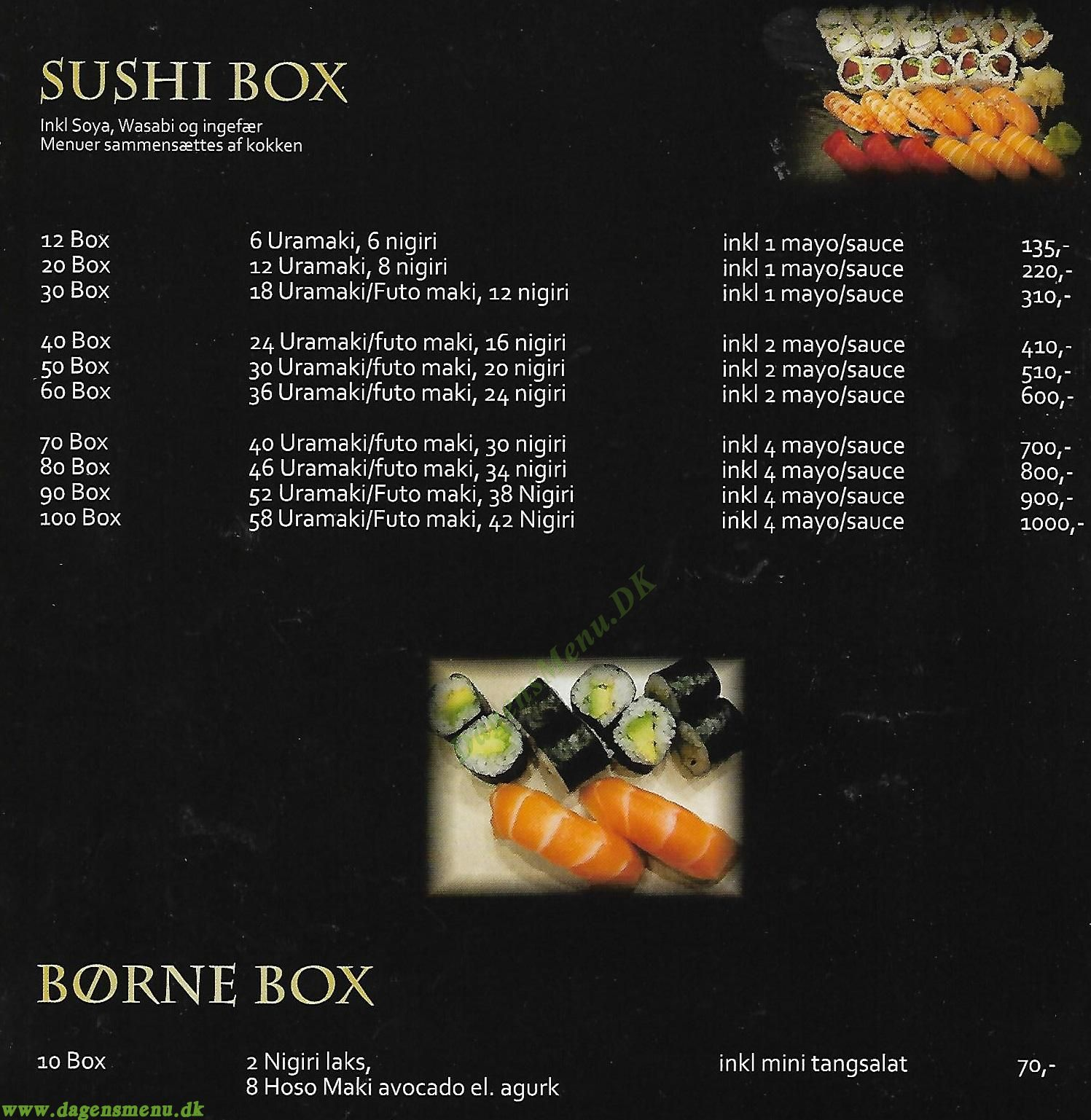 Kaiseki Sushi - Menukort