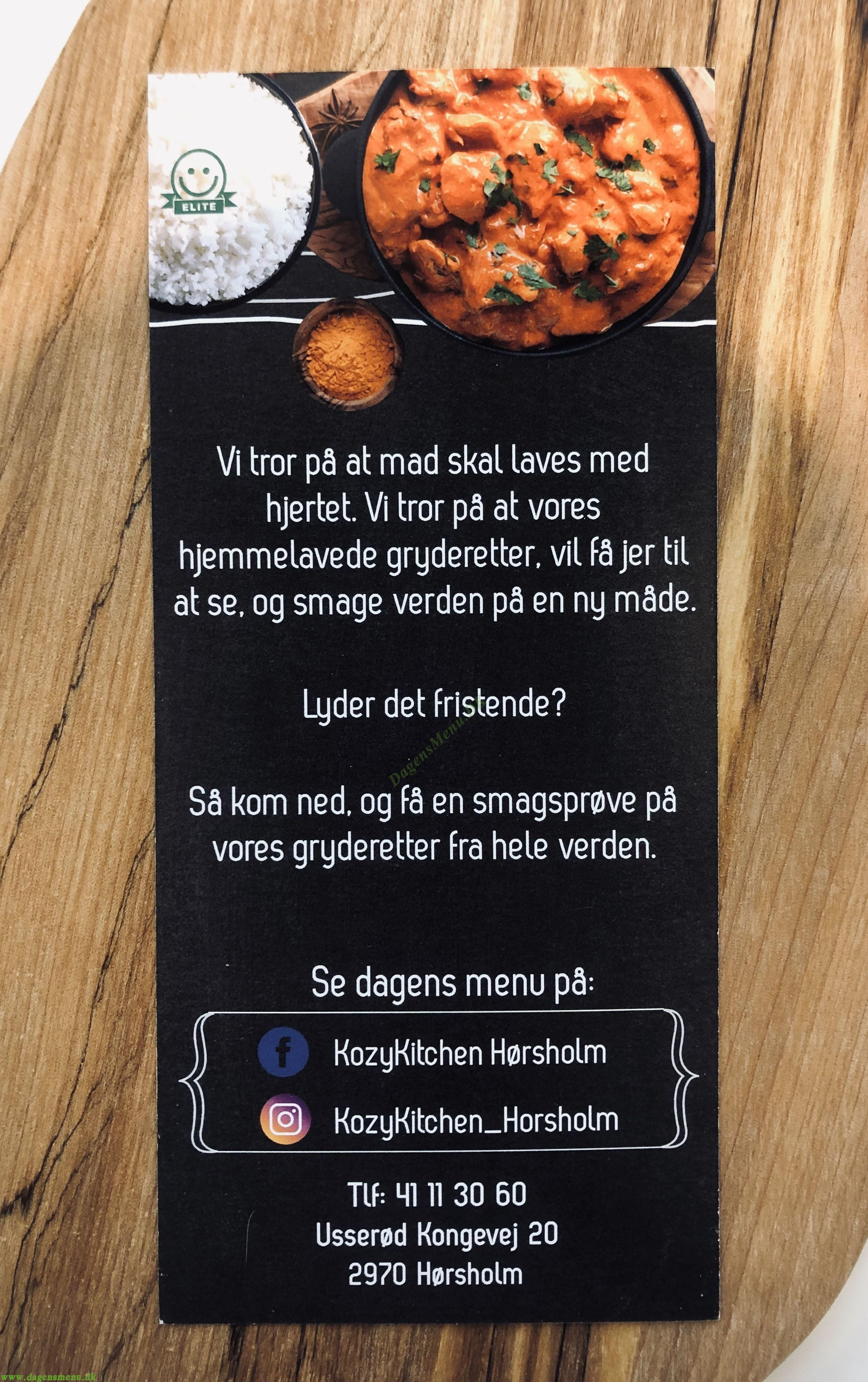 KozyKitchen Hørsholm - Menukort