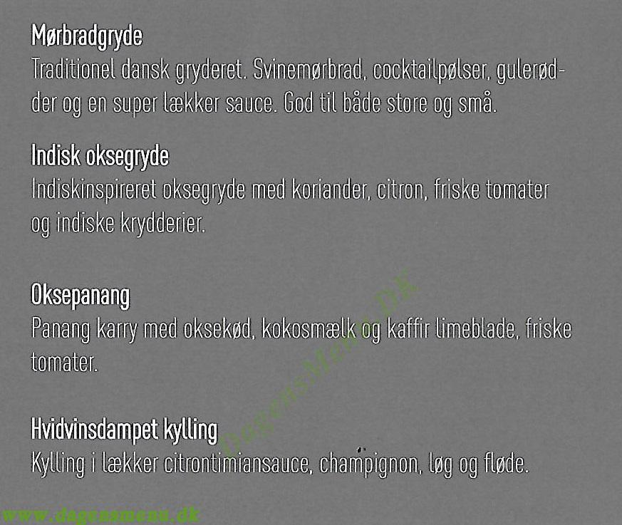 KozyKitchen - Menukort