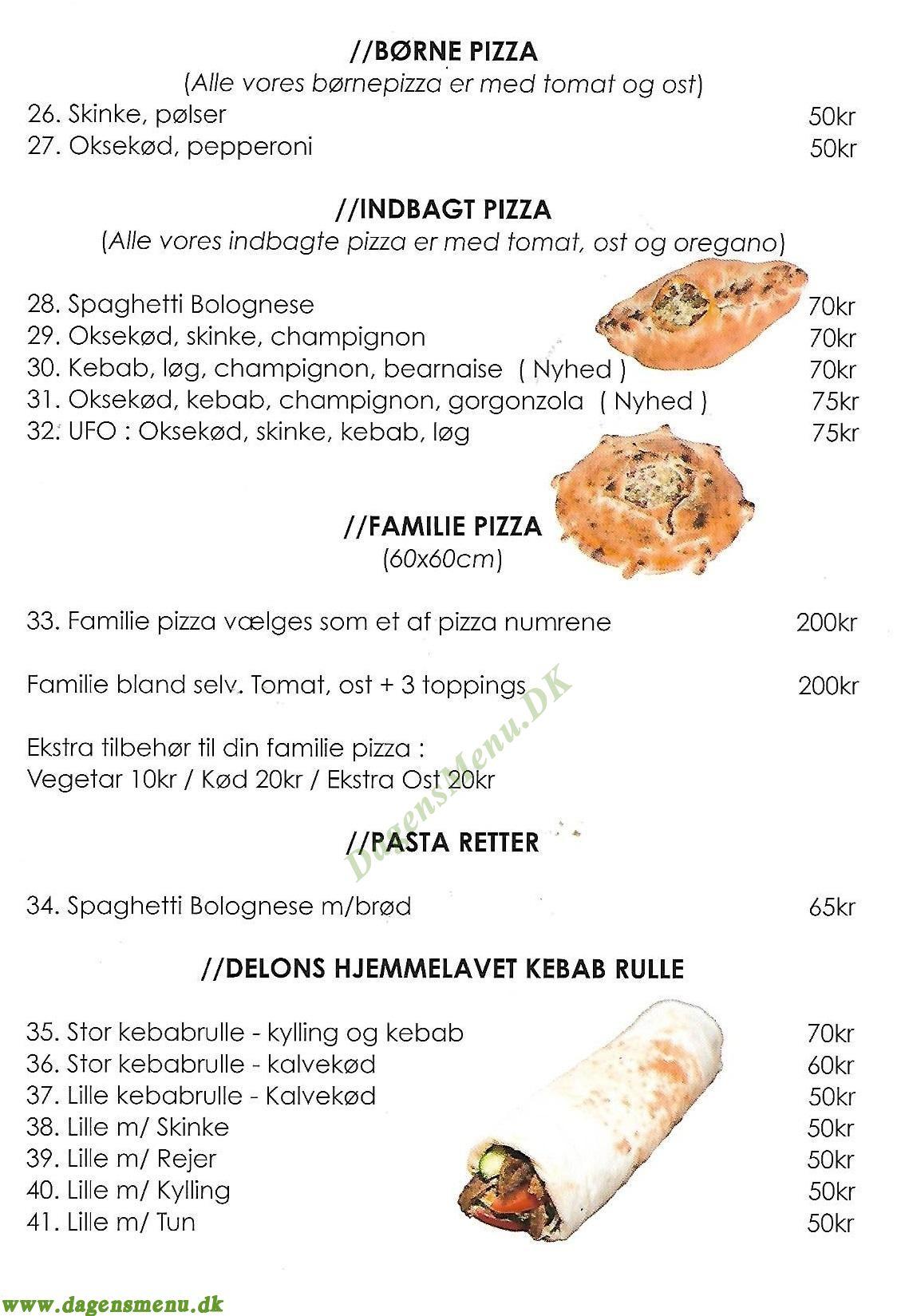 Delons Pizza - Menukort