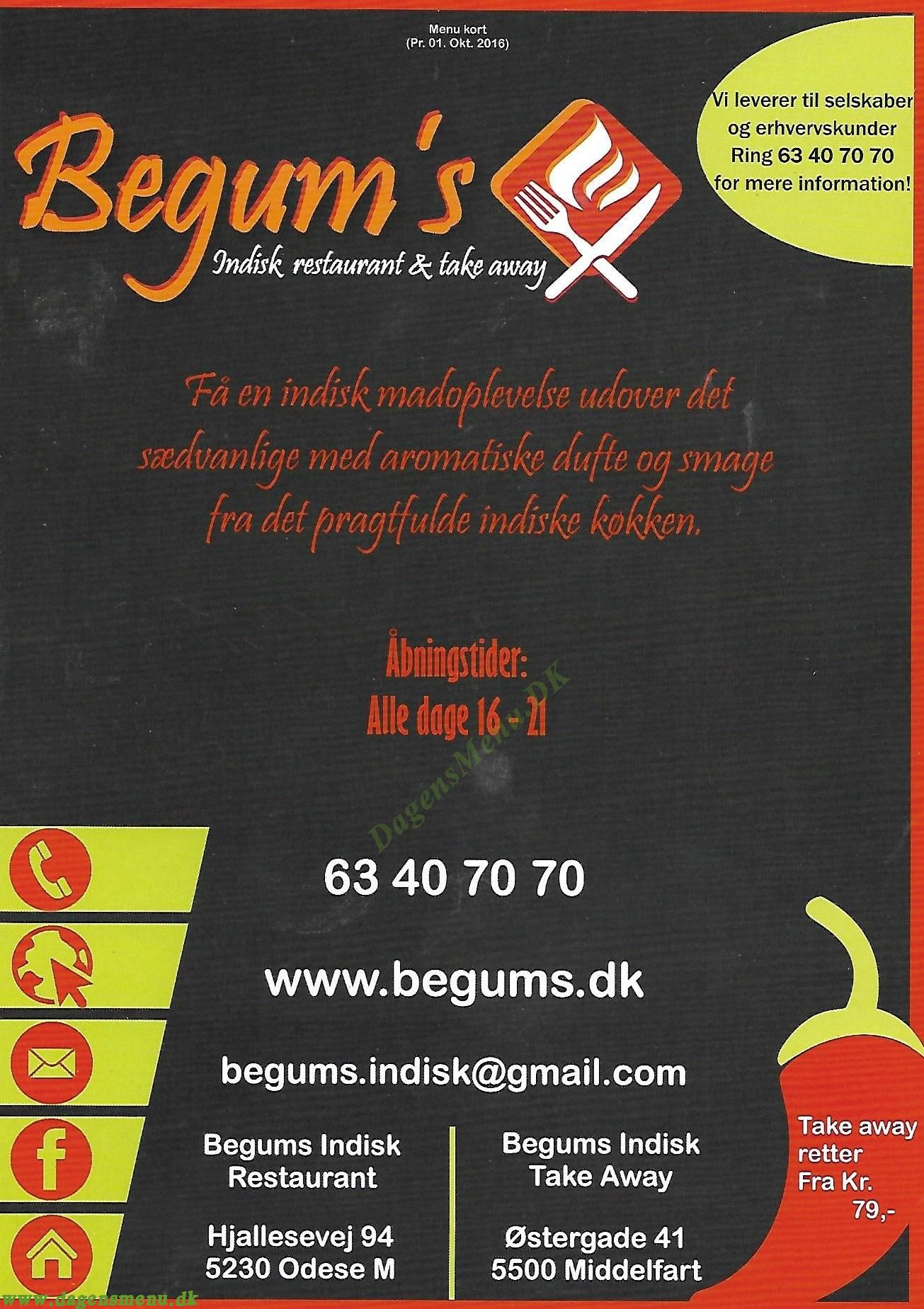 Begums Indisk Restaurant & Take  Away - Menukort