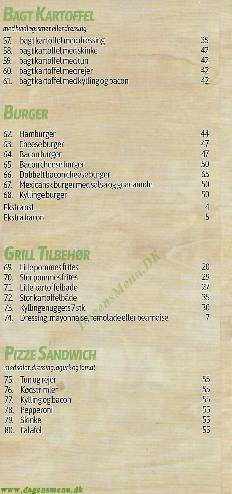 Fik-Ret Pizza - Menukort
