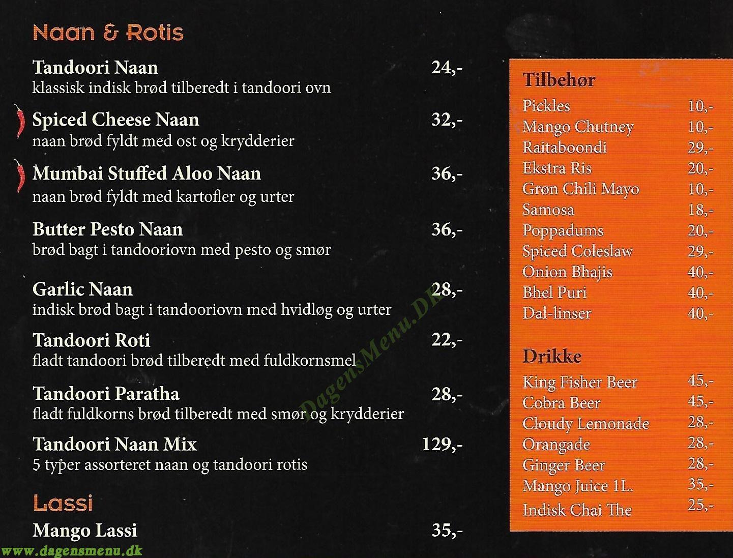 Restaurant Mumbai - Menukort