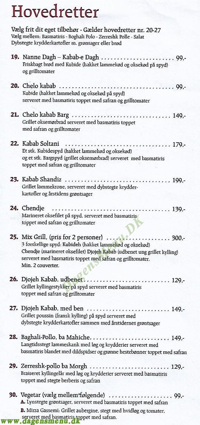 Den Persiske Restaurant khayam - Menukort
