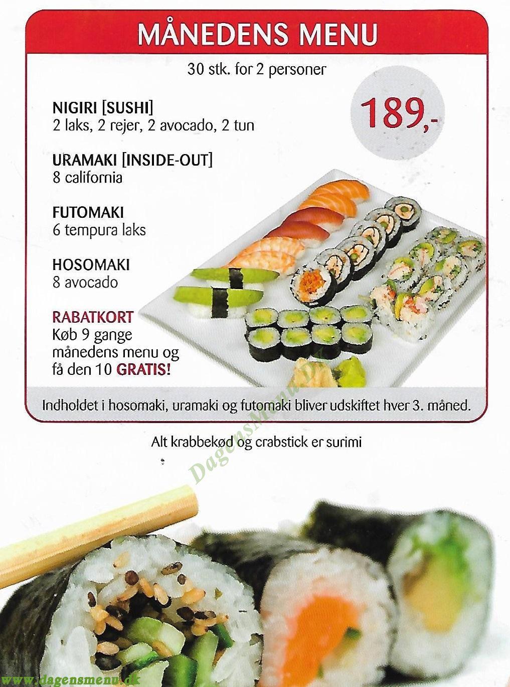 KINESISKE MUR (Sundby Sushi) - Menukort
