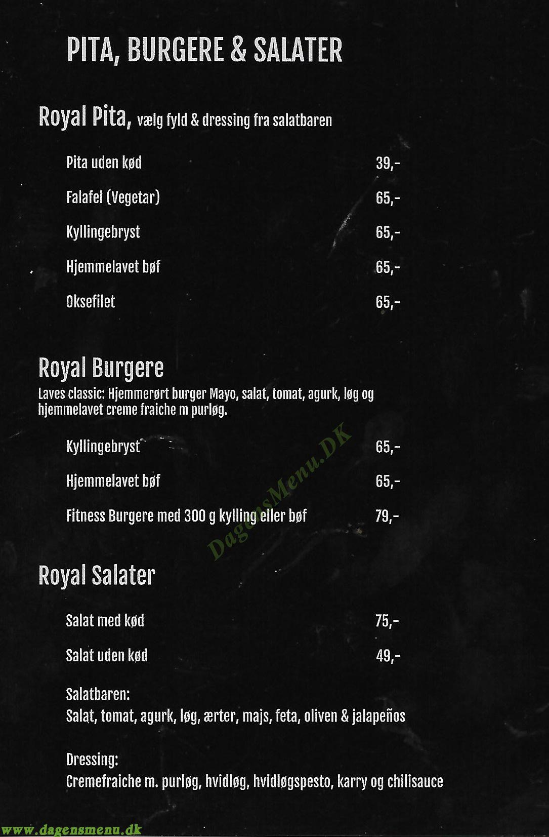 Royal Pita & Burger - Menukort