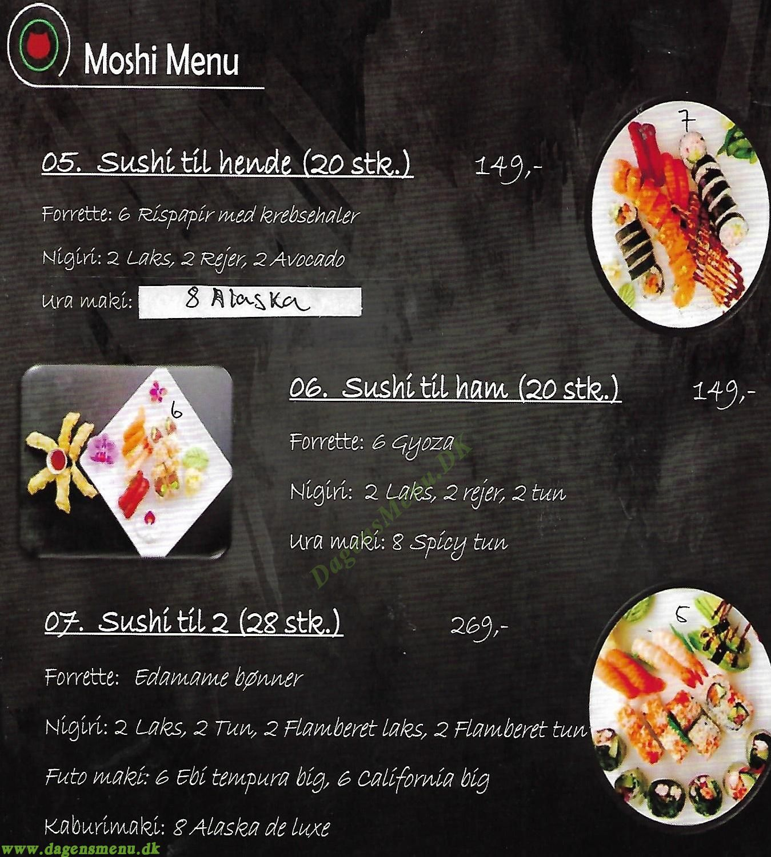 Moshi Mao Sushi Takeaway - Menukort