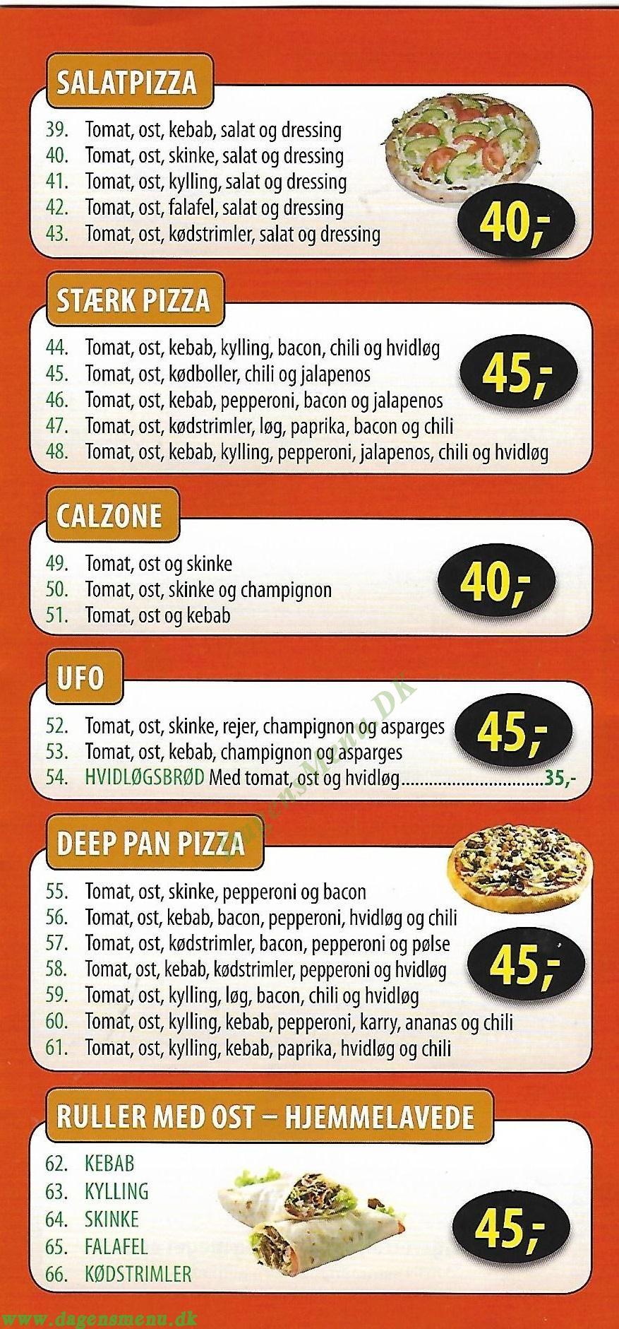 Banekiosken og Pizza - Menukort