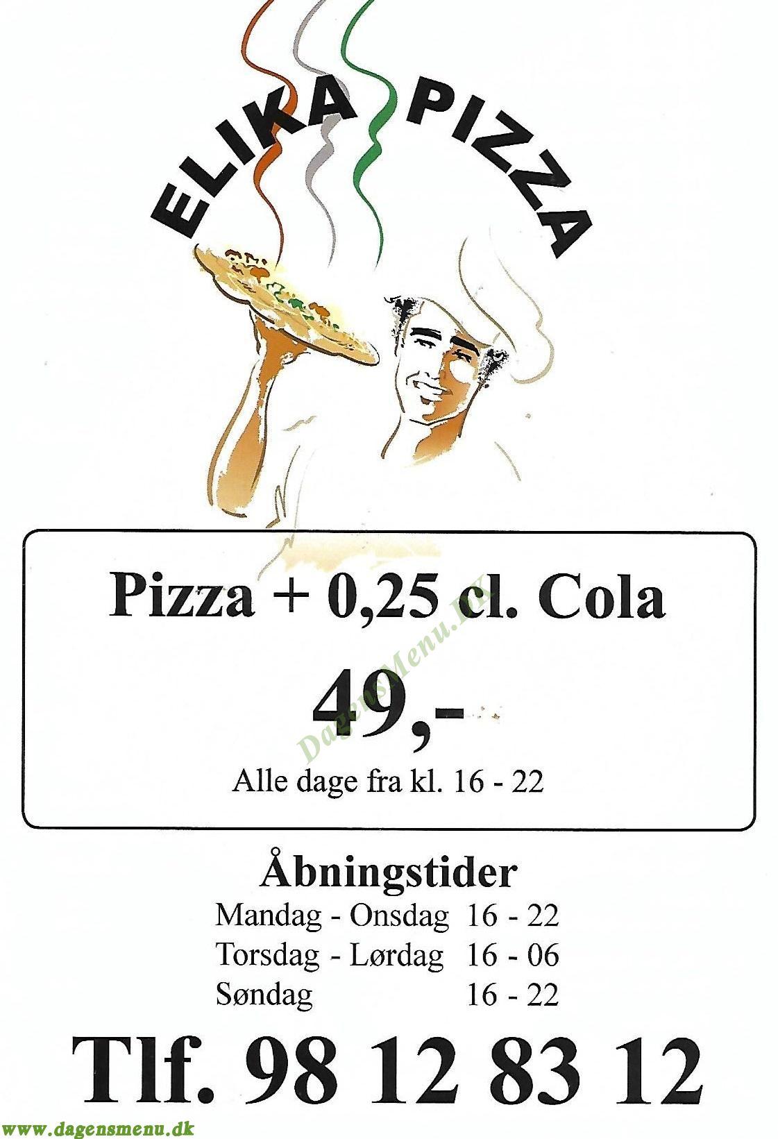Elika Pizza - Menukort