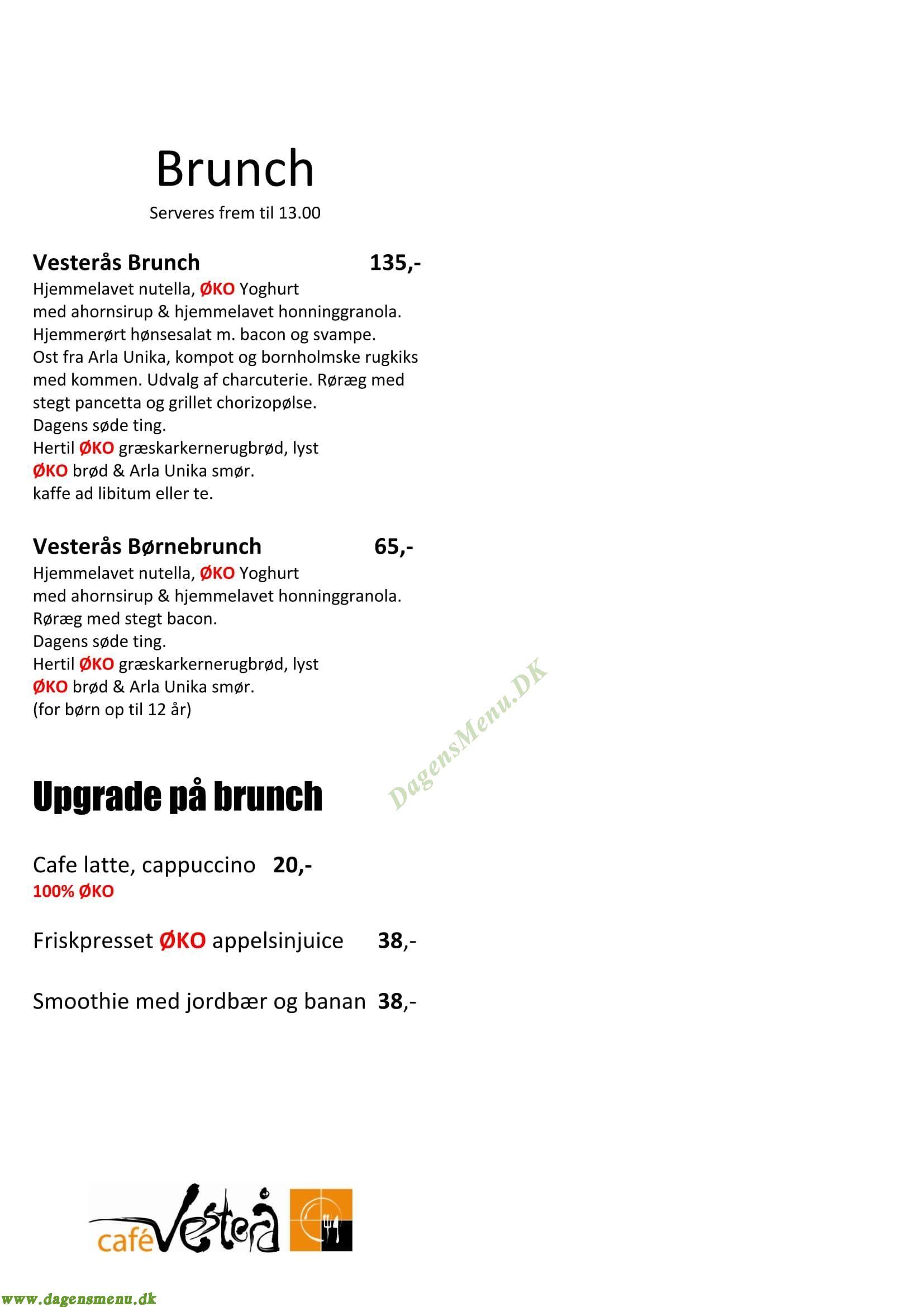 Cafe Vesterå V4 - Menukort