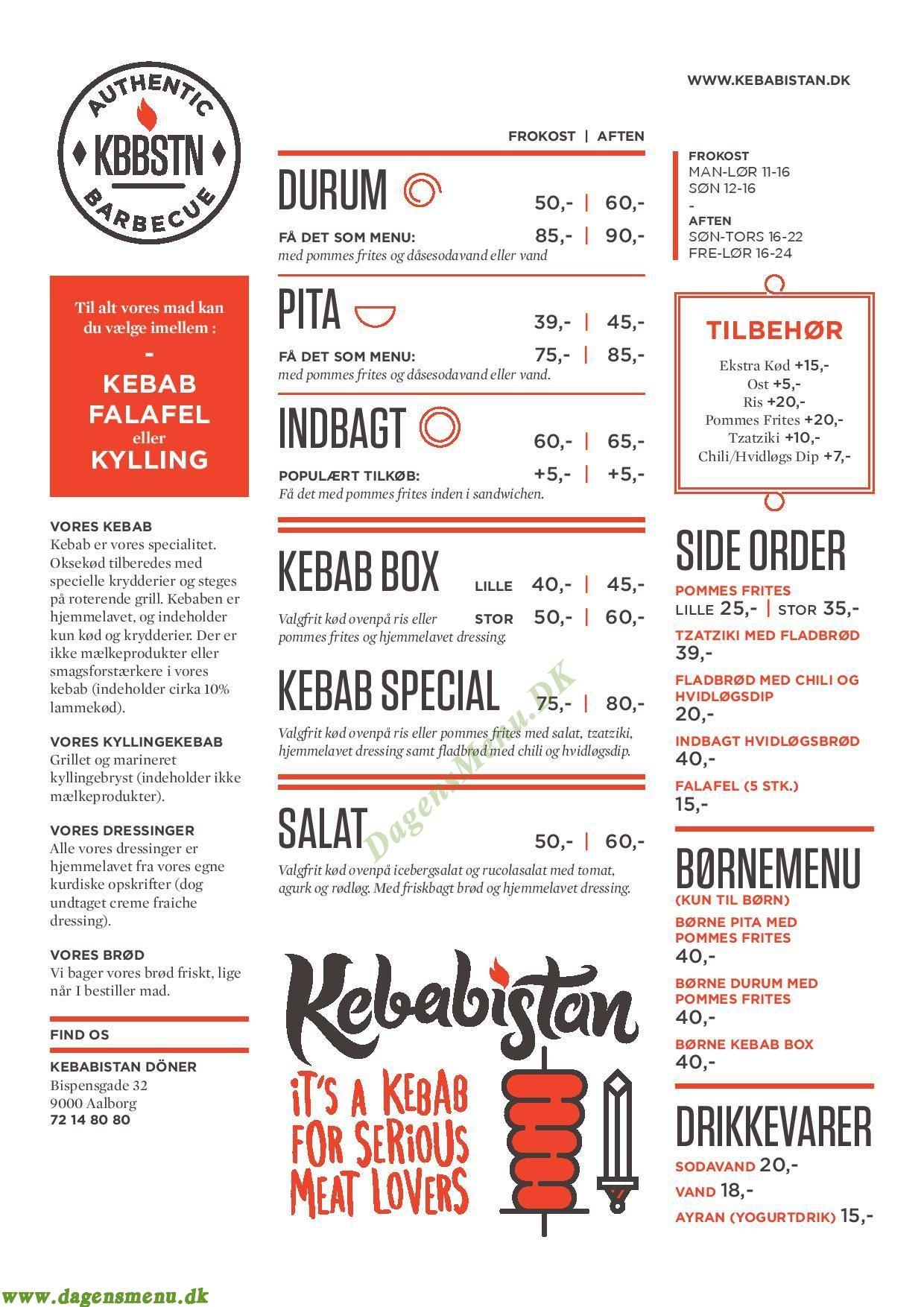 Kebabistan Barbeque - Menukort
