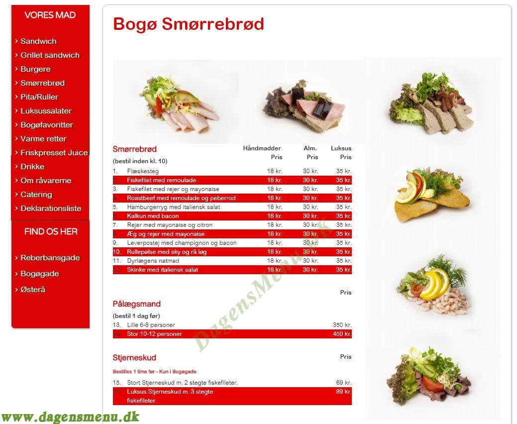 Bogø Sandwich - Menukort