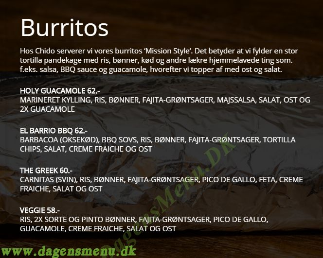 Chido Mexican Grill - Menukort