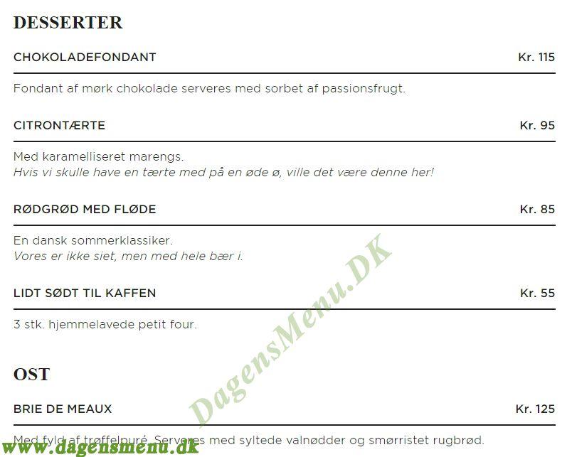Brdr. Price Aalborg - Menukort