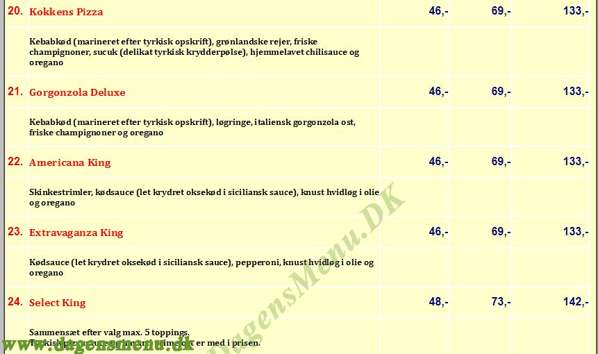 Pizza king Hobrovej - Menukort