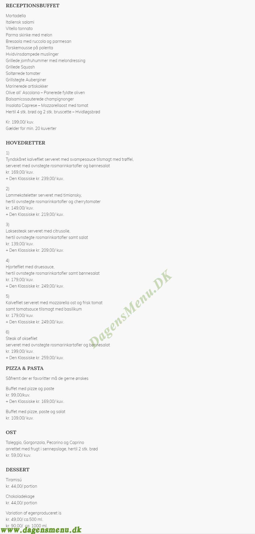 RESTAURANT AZZURRA - Menukort