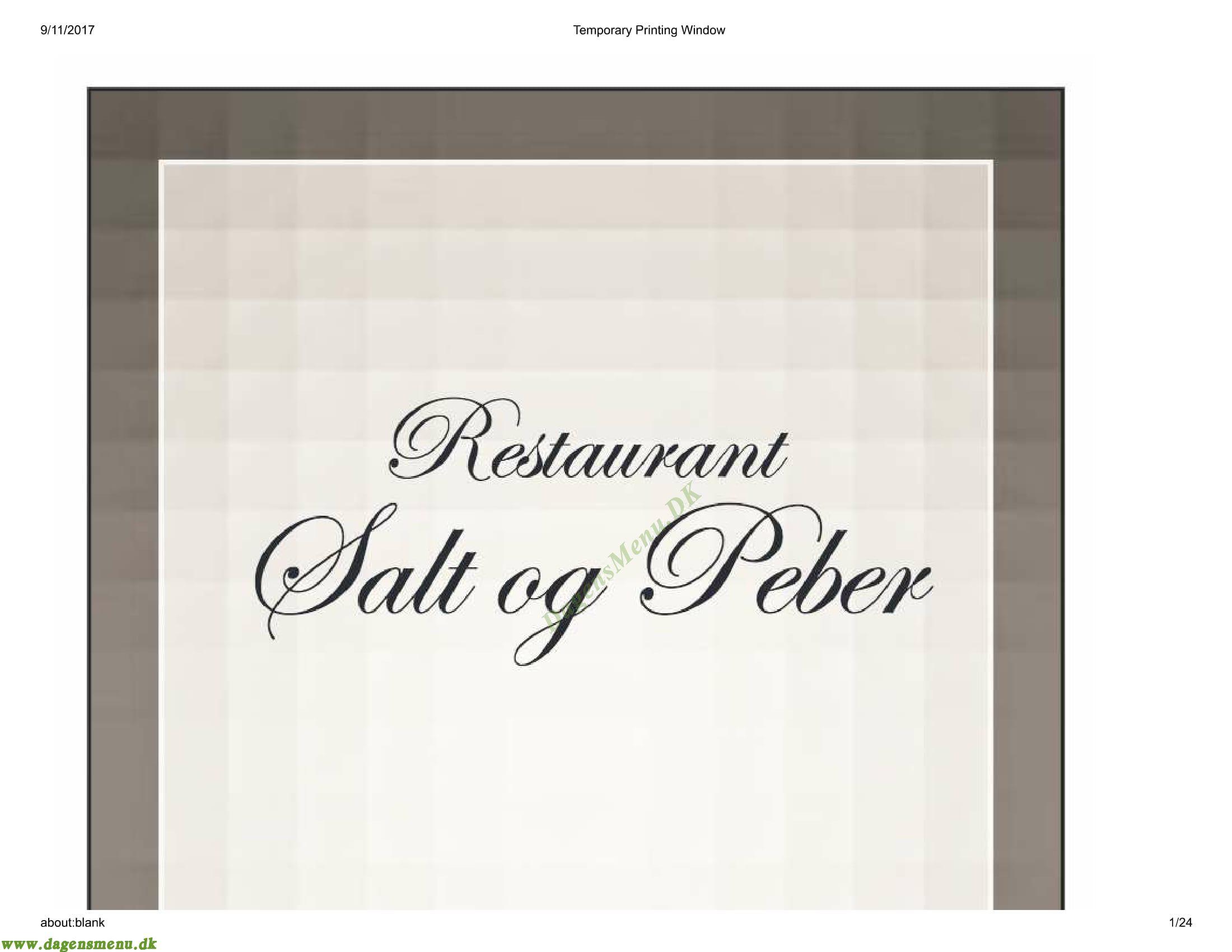 Salt og Peber Menukort