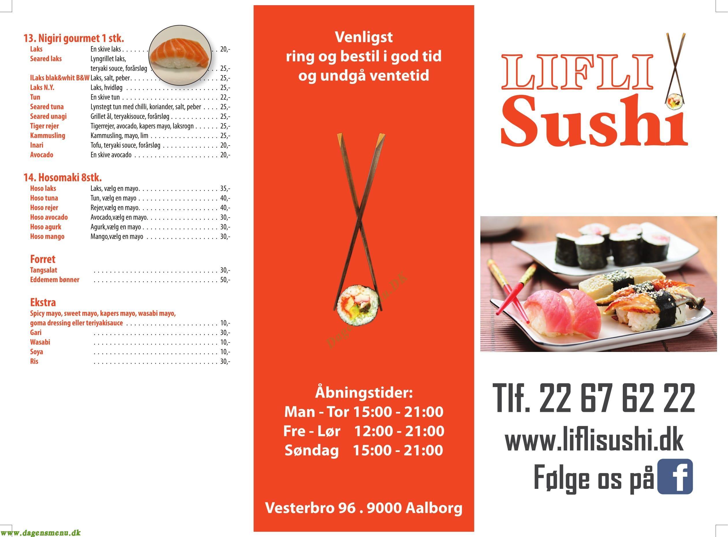 Lifli Sushi - Menukort