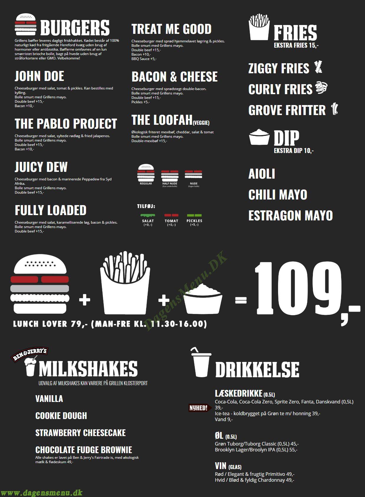 Grillen Burgerbar - Menukort