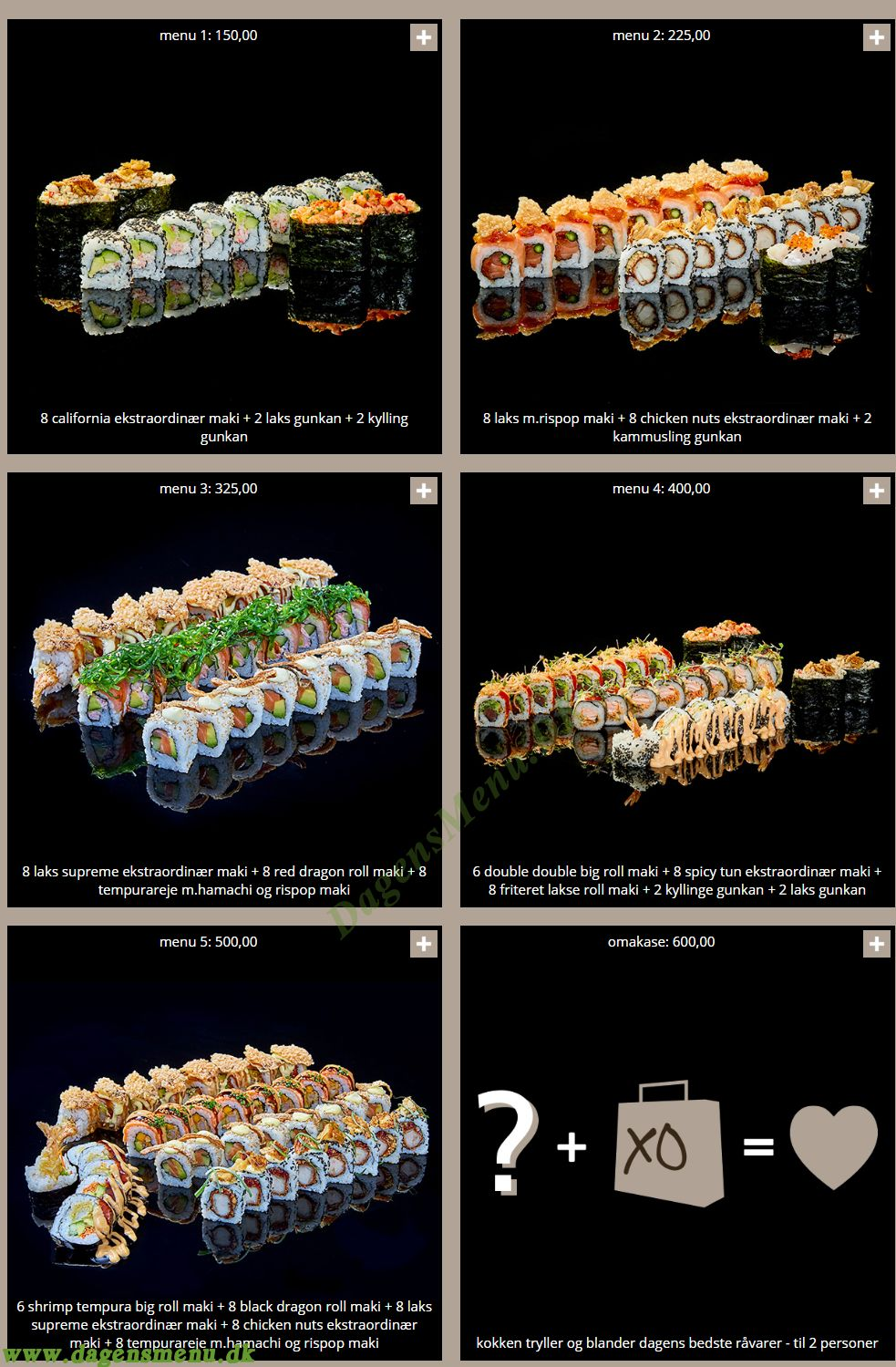 Sushi Sushi - Menukort