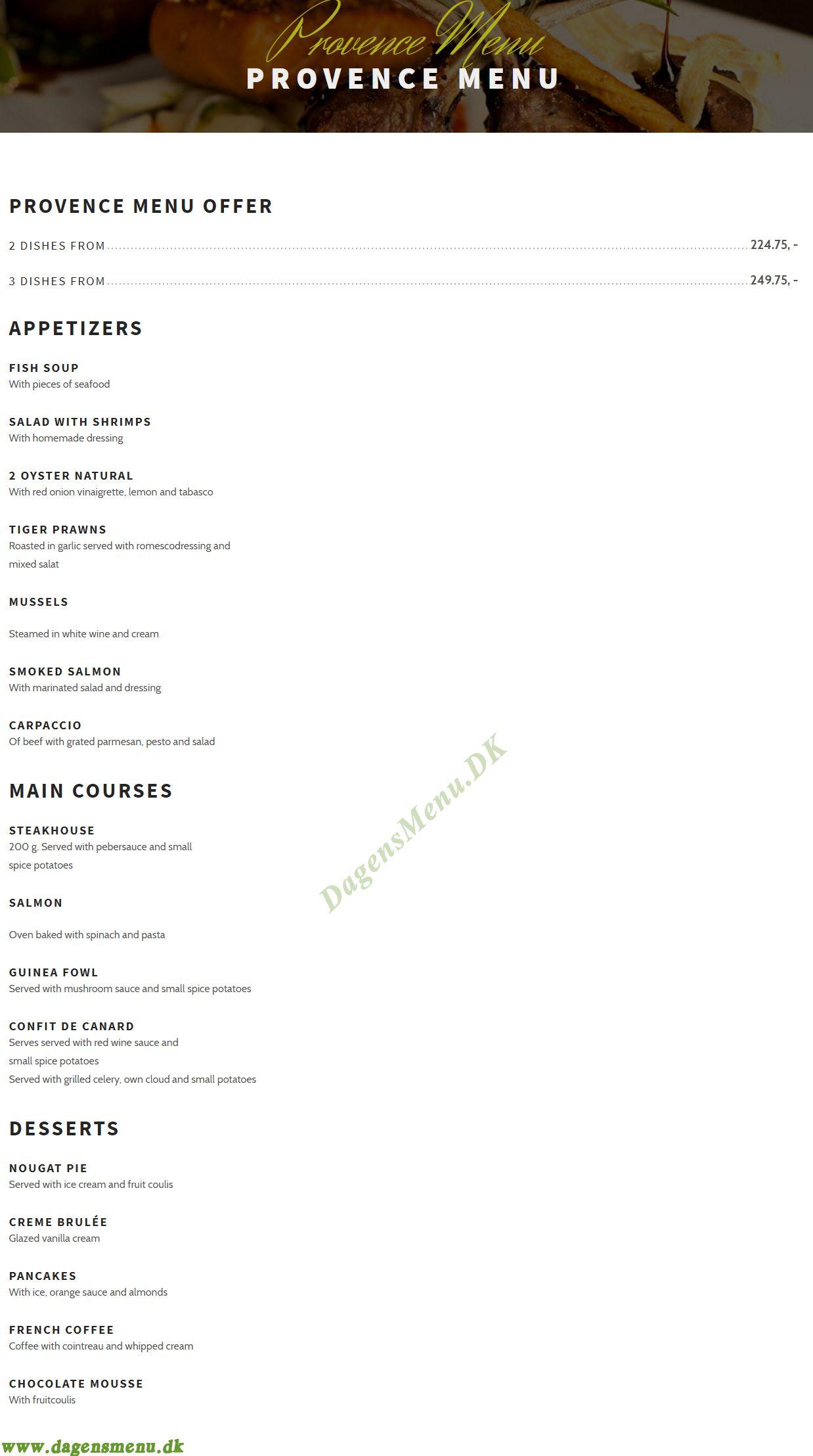 Restaurant Provence - Menukort