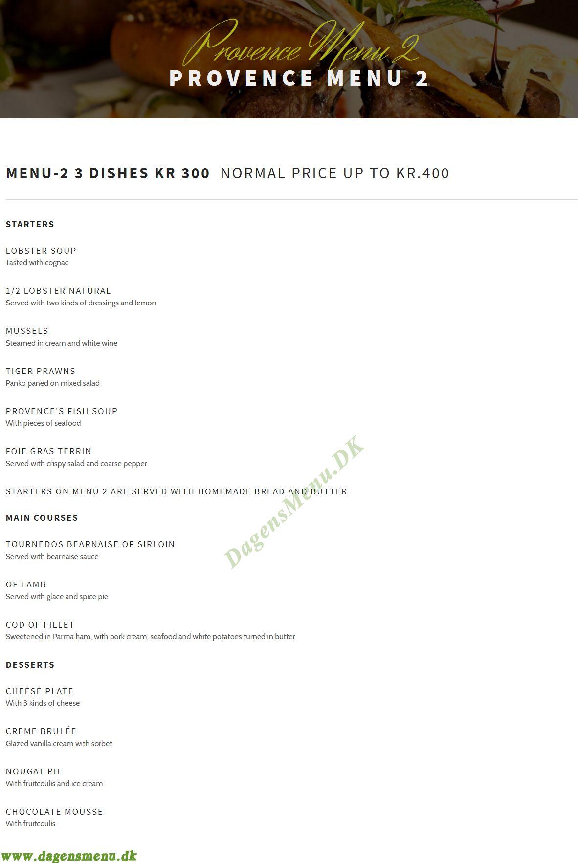 Restaurant Provence Menukort