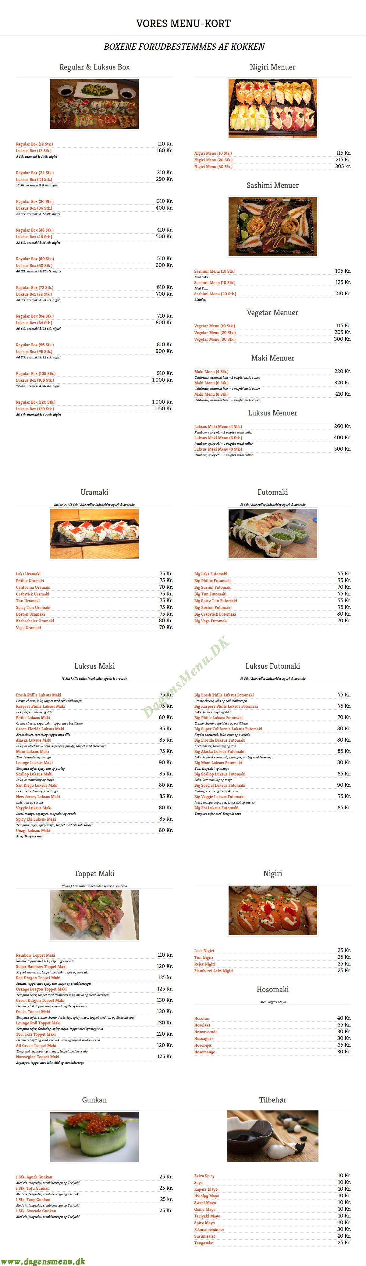 Sushi Lounge Menukort