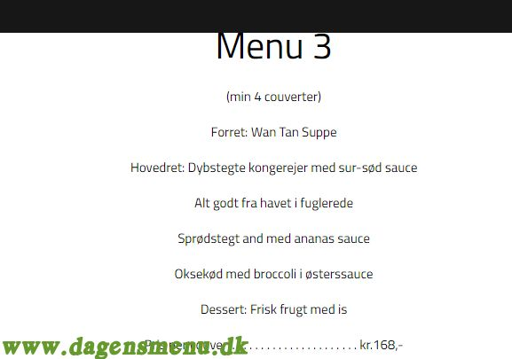 Restaurant Sanya - Menukort