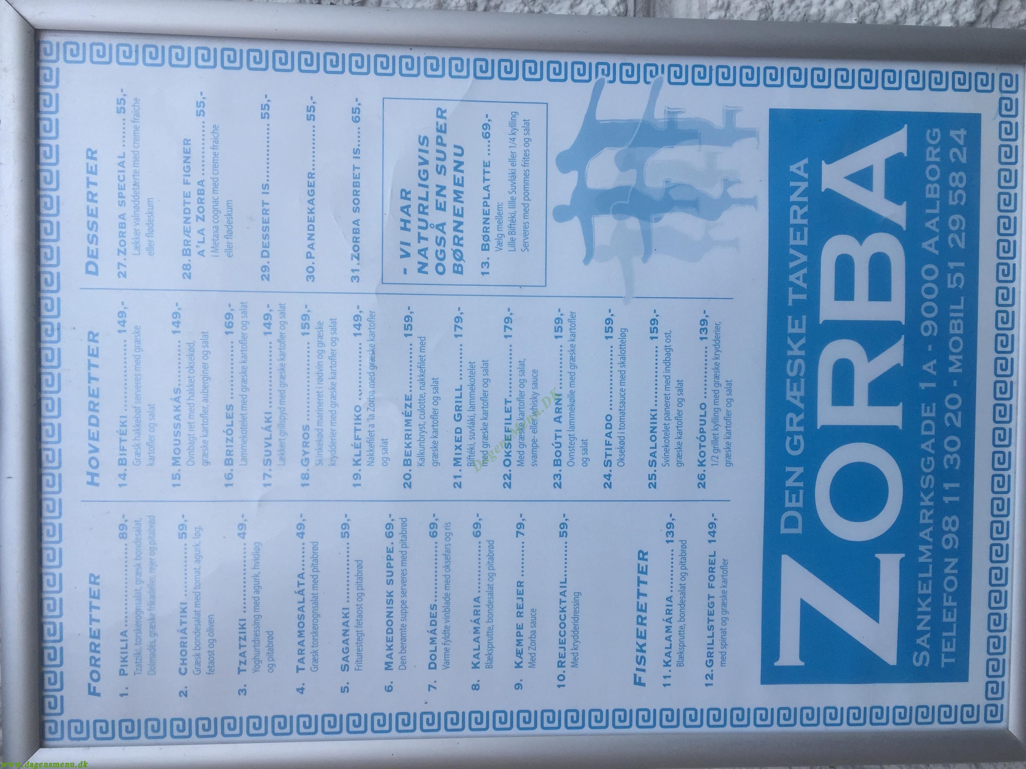 Taverna Zorba - Menukort