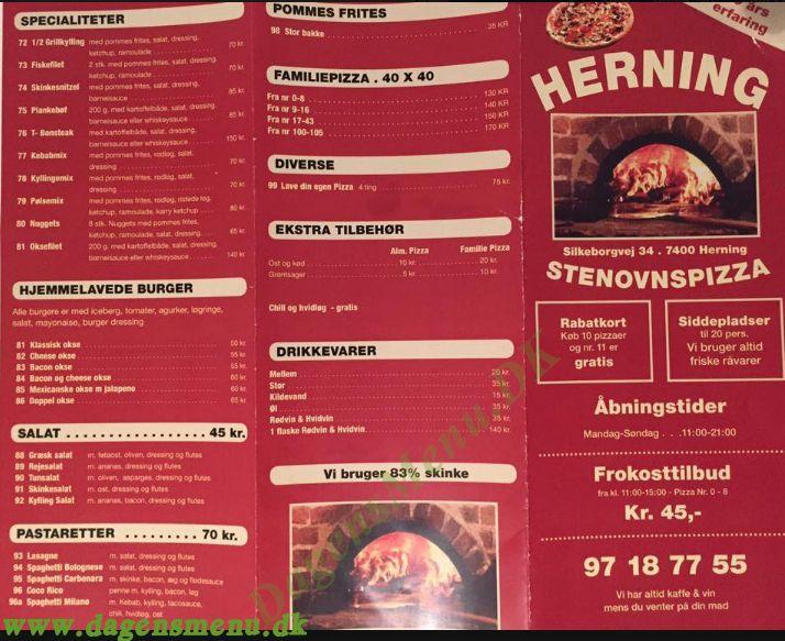 Stenovnspizza - Menukort