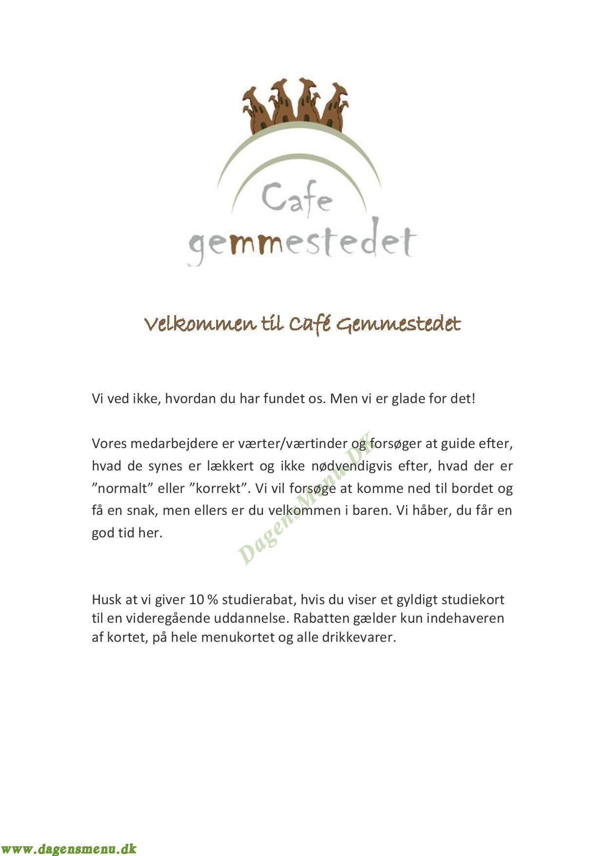 Café Gemmestedet - Menukort